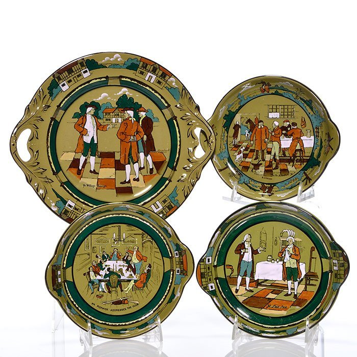 "4 Buffalo Pottery 11 1/4"" platter, 8"" dessert trays"