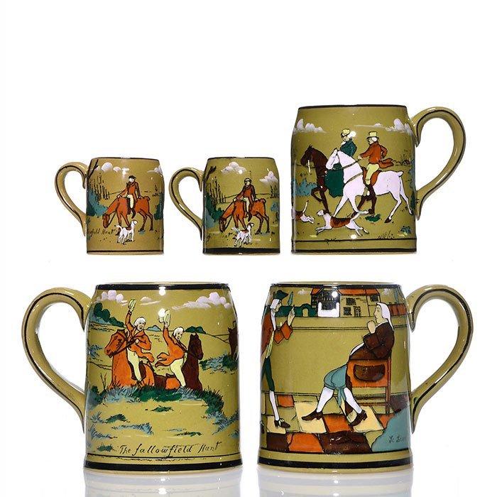 "5 Buffalo Pottery mug, assorted sizes, tallest 4"""
