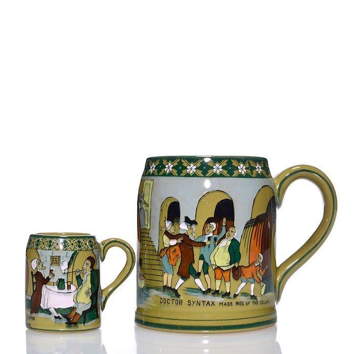 """2 Buffalo Emerald Deldare mugs, 4 1/4"""", 2 3/8"""""""