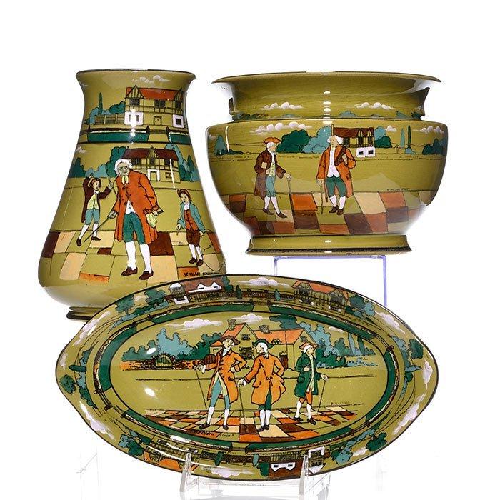 """3 Buffalo items, jardiniere, oval tray, vase, 8 3/8"""""""