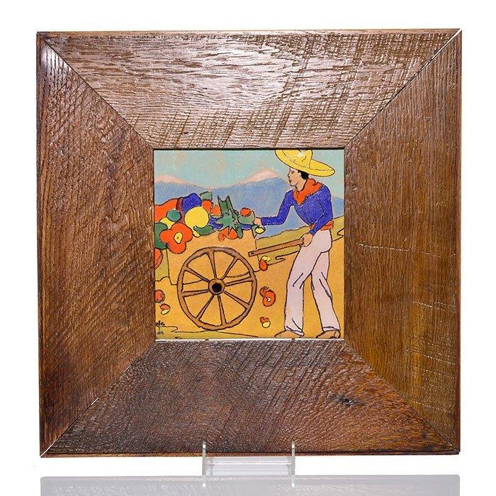 "San Jose Pottery 8"" tile, Southwestern scene ,framed"