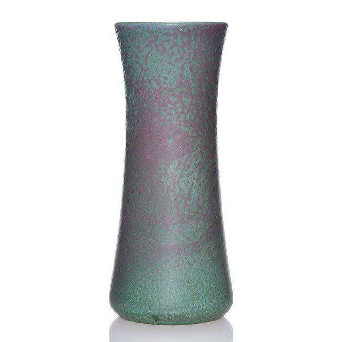 "Marblehead vase, green & purple  mat, 8 7/8"""