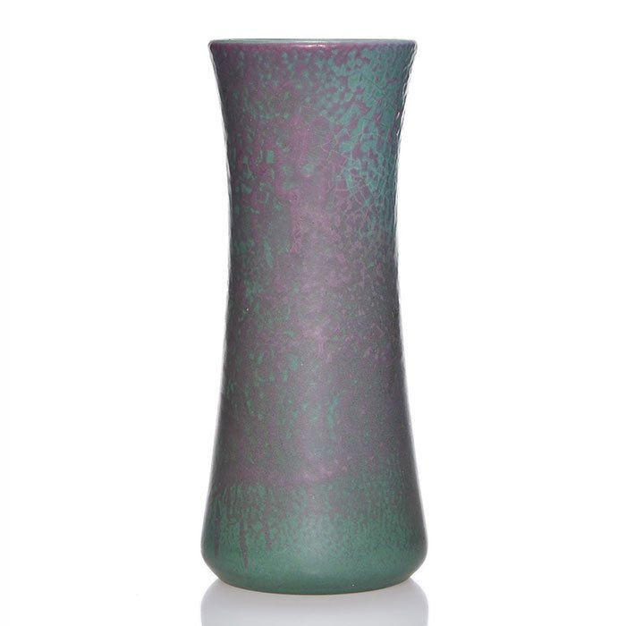 "Marblehead vase, green & purple  mat, 8 7/8"" - 2"