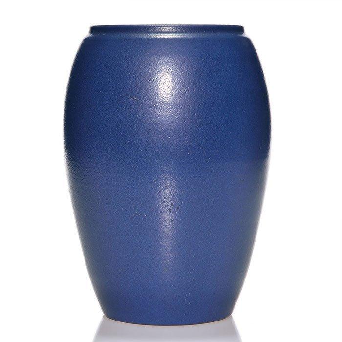 "Marblehead vase, blue mat, 8 7/8"""