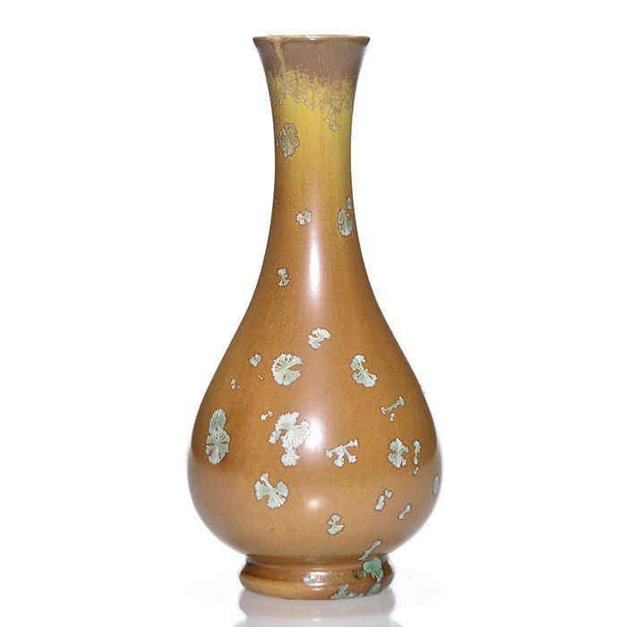 """American Encaustic Crystalline vase, 8 7/8"""""""