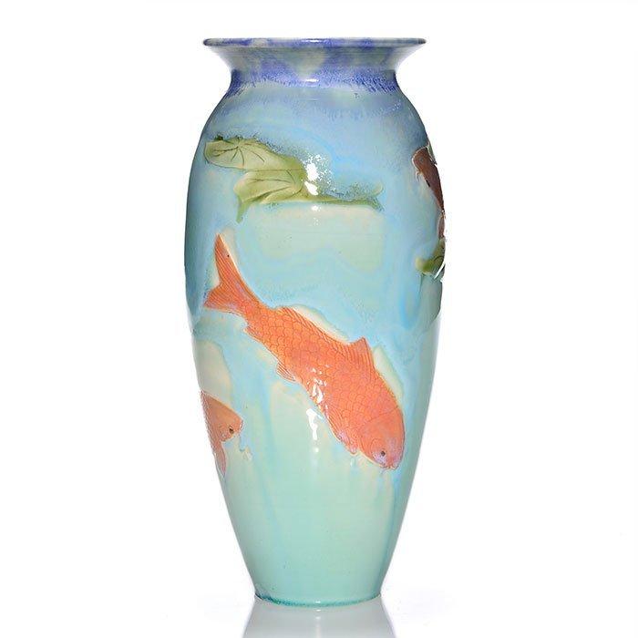 """Door Pottery vase, fish crystalline glaze, 11"""""""