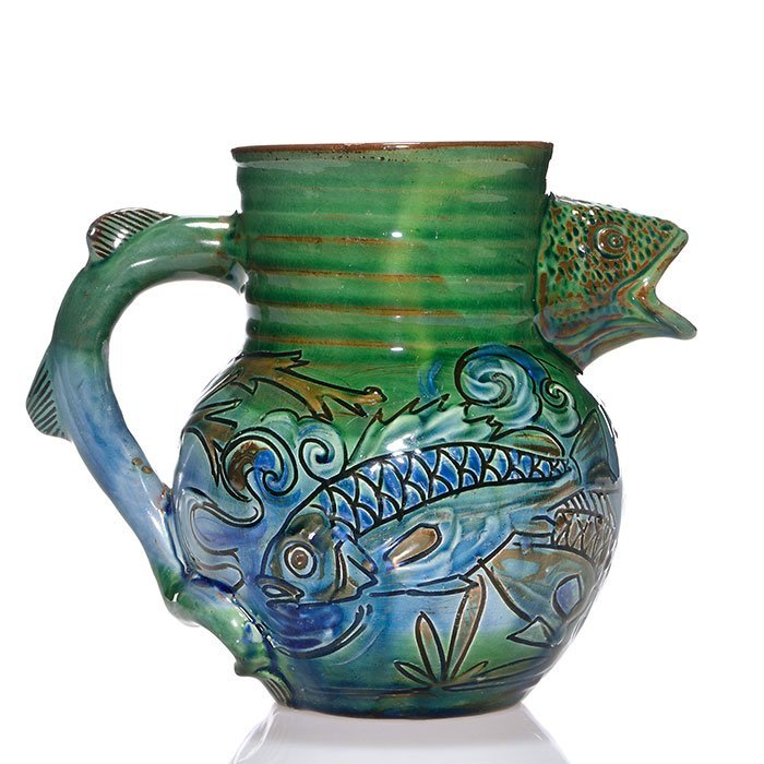 "Brannam pitcher, fish handle and spout, 1896, 6"""
