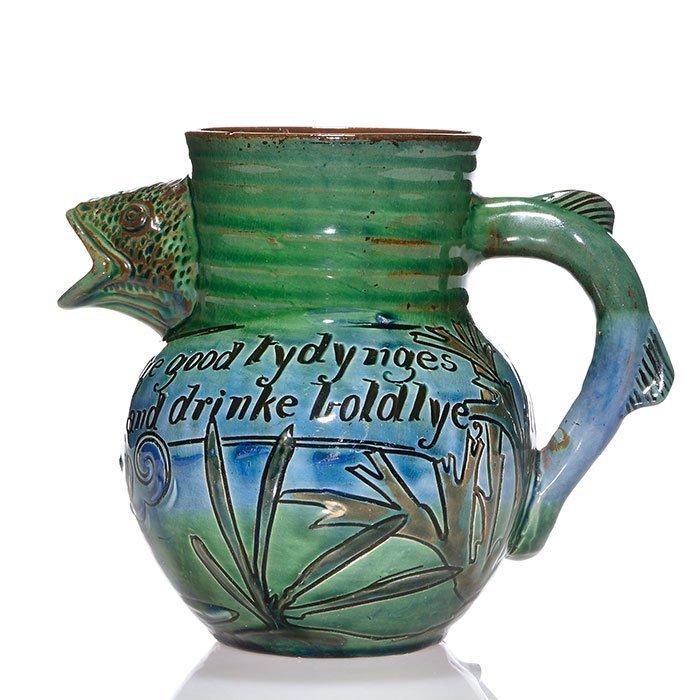 "Brannam pitcher, fish handle and spout, 1896, 6"" - 2"