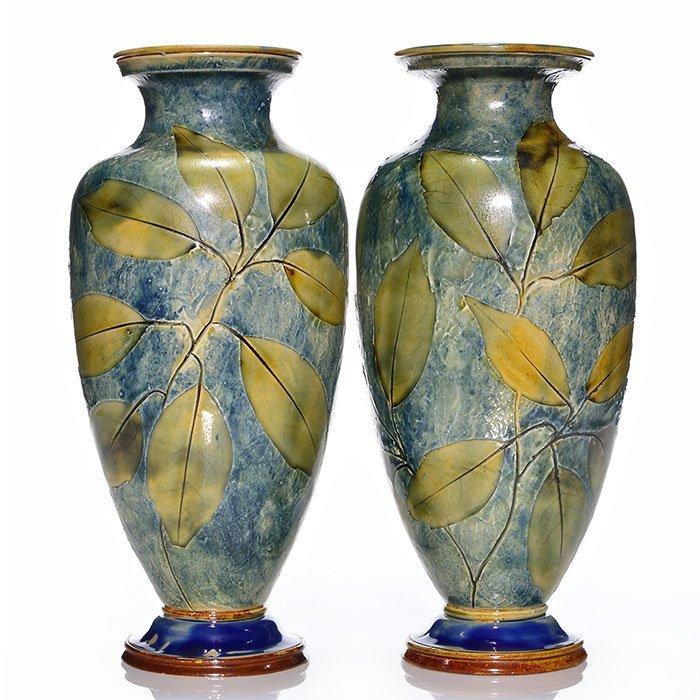 """2 Royal Doulton Natural Foliage vases,12 1/4"""""""