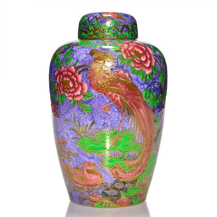 Fairyland Lustre, Argus Pheasant covered jar, 9 1/2""