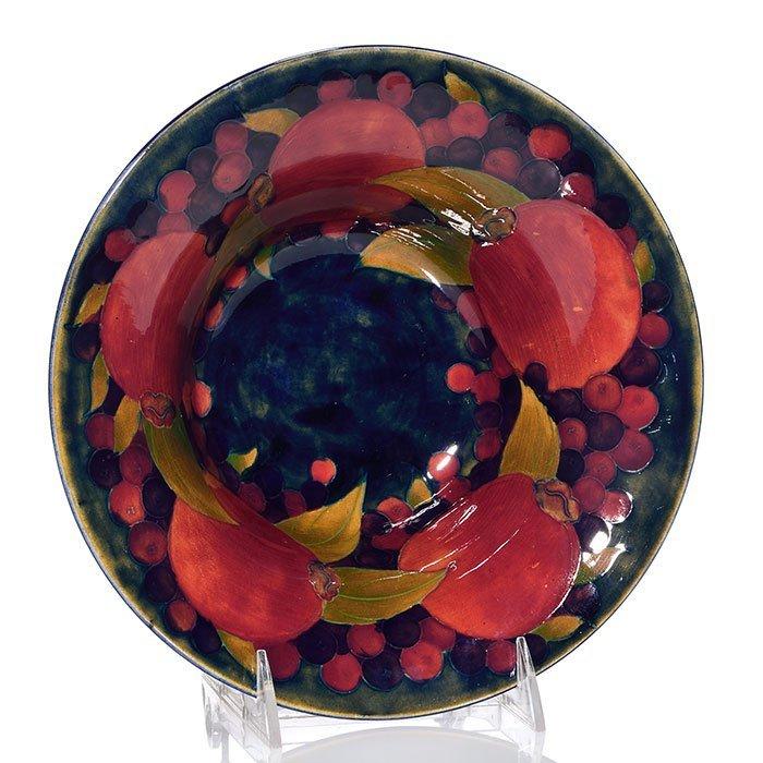 "Moorcroft bowl, Pomegranate inside, 3 1/4 x 9 1/8"""