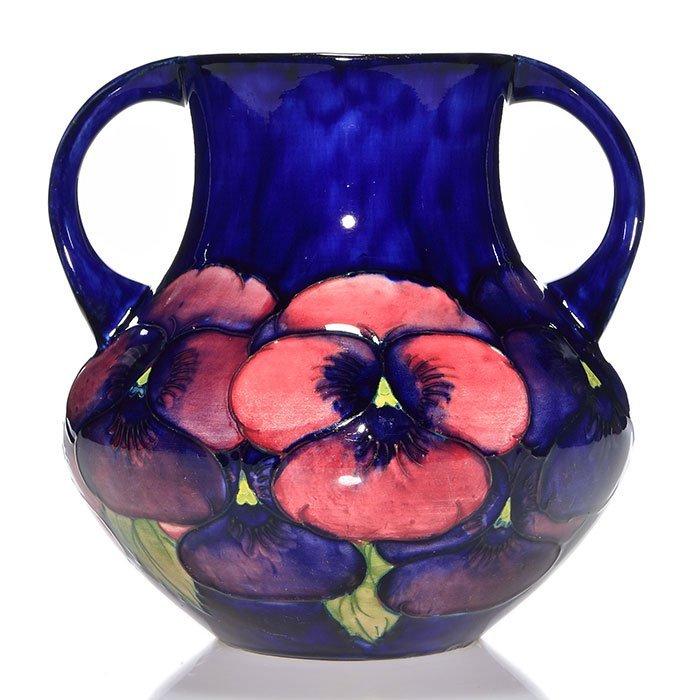 """Moorcroft 2 handled pansy vase, 7 3/4"""""""