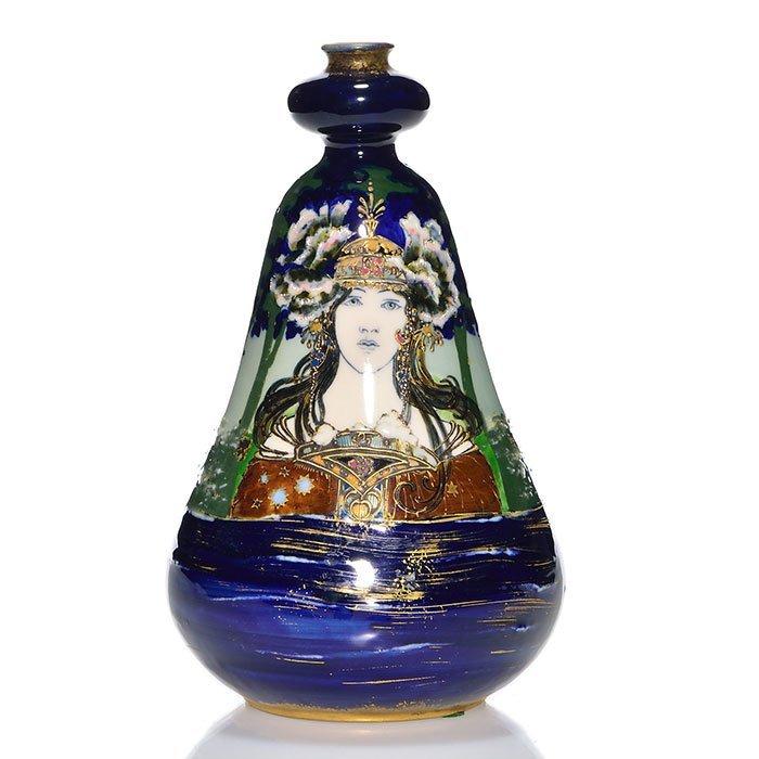 "Amphora (R.St.&K.) vase, 8 3/8"" woman in forest."