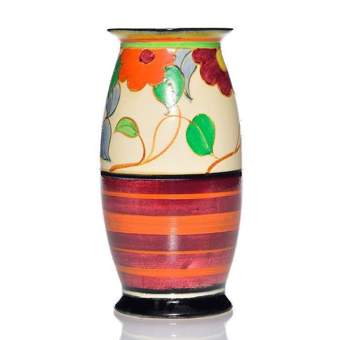 """Clarice Cliff Bizarre vase, floral, 7 7/8"""""""