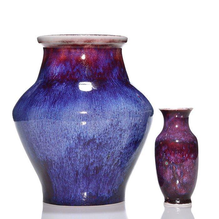 """2 Sevres Oxblood vases, reds, blues, 1892, 5"""", 9"""""""