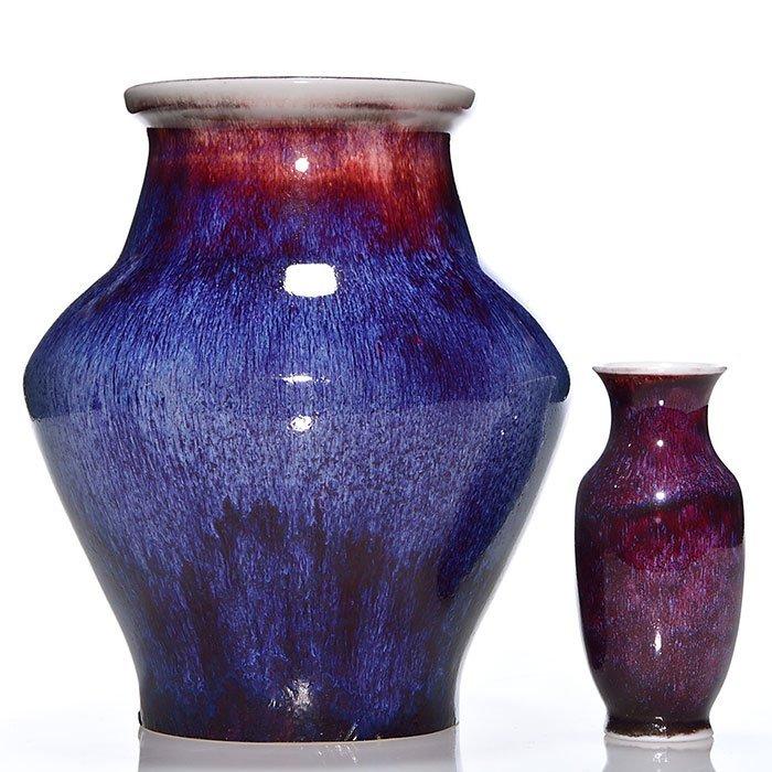 """2 Sevres Oxblood vases, reds, blues, 1892, 5"""", 9"""" - 2"""