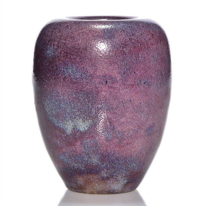 "Edmond Lachenal purple mat glaze vase, 4 7/8"""