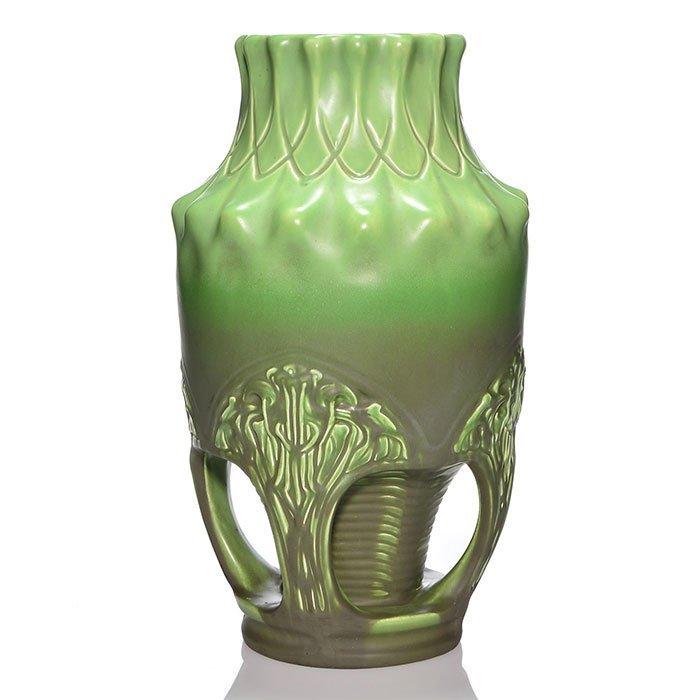 """Julius Dressler 4 handled vase, Art Nouveau, 17"""""""