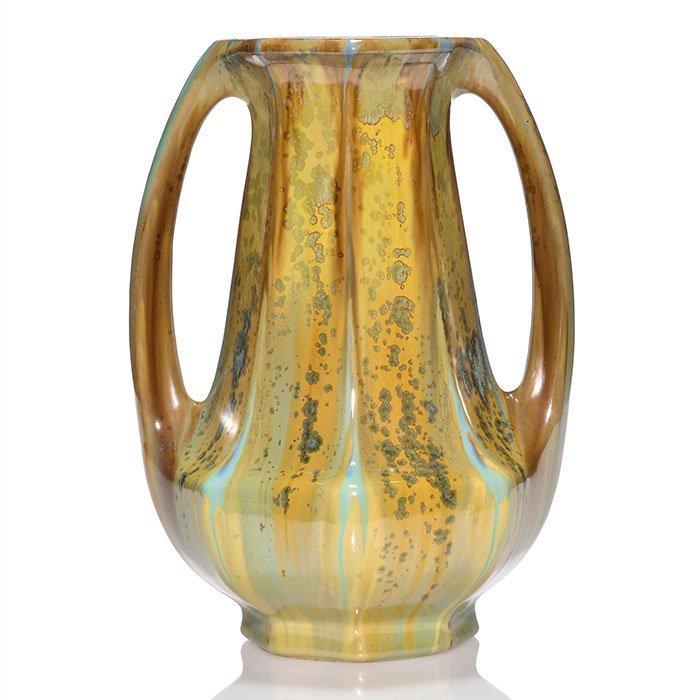 "Large Pierrefonds 2 handled crystalline vase, 12 3/4"""