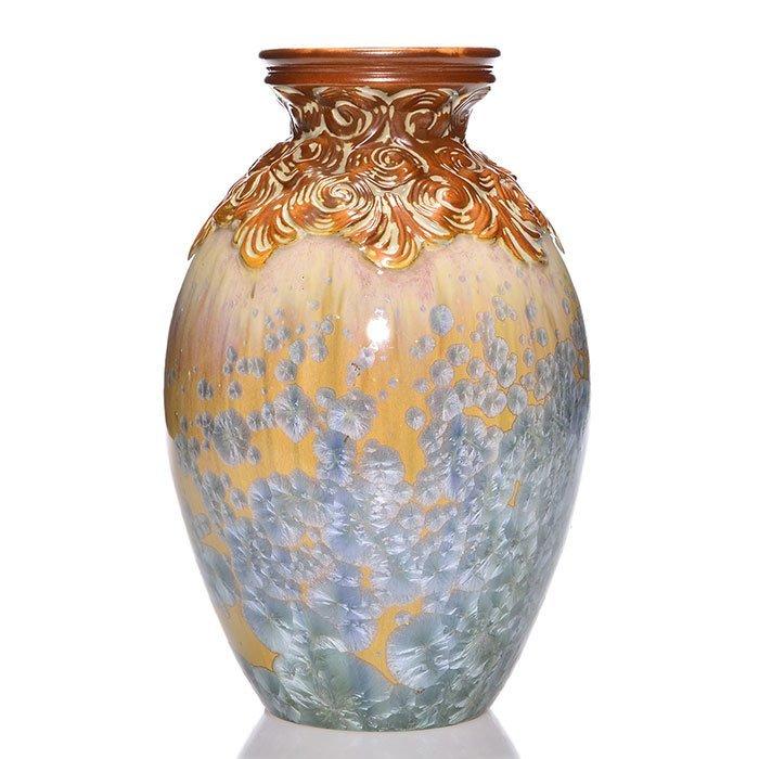 "Mougin Freres crystalline glaze vase, 12 1/2"""