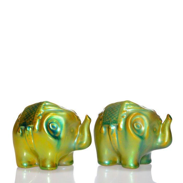 """2 Zsolnay Eosin Elephants, 2 3/4"""""""