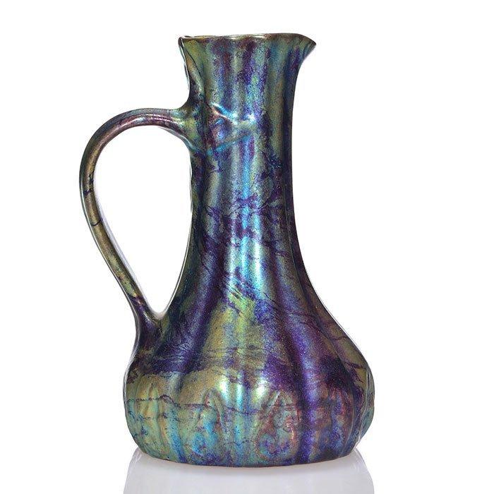 "Zsolnay pitcher, Labrador glaze,  6 1/2"""