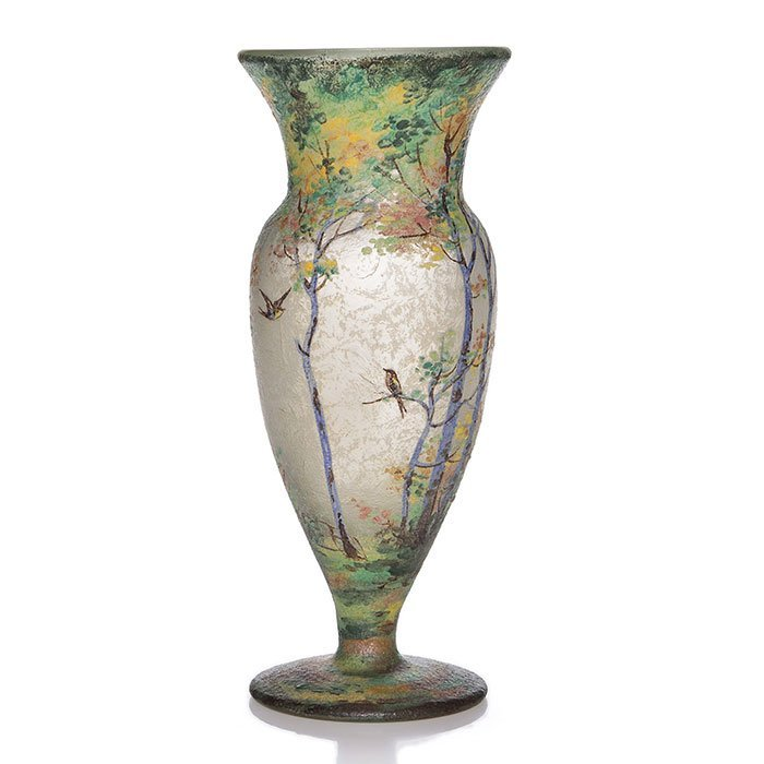 "Handel Teroma footed vase, scenic, 11"", signed"