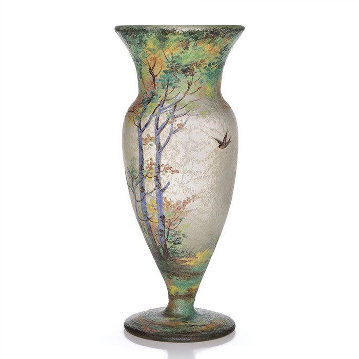 "Handel Teroma footed vase, scenic, 11"", signed - 2"