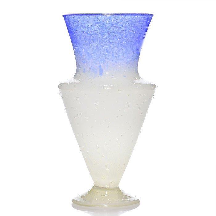 "Steuben Cluthra Deco vase, blue/white, 9 3/4"", 6919"