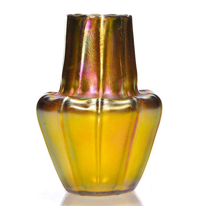 "Tiffany gourd vase, gold, ribbed, 6"""