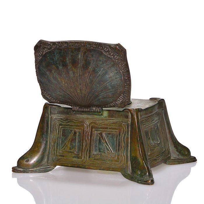 "Tiffany Nautical bronze inkwell, dolphin, 3"""