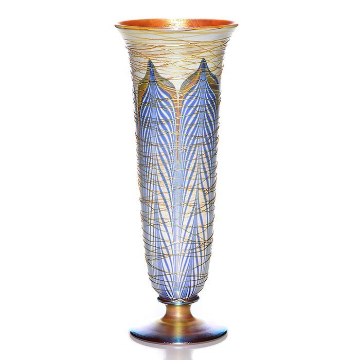 """Durand threaded, footed vase, blue feathers, 12 1/2"""""""