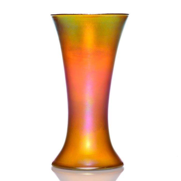 "Quezal amber vase, rainbow surface, 10"", signed"