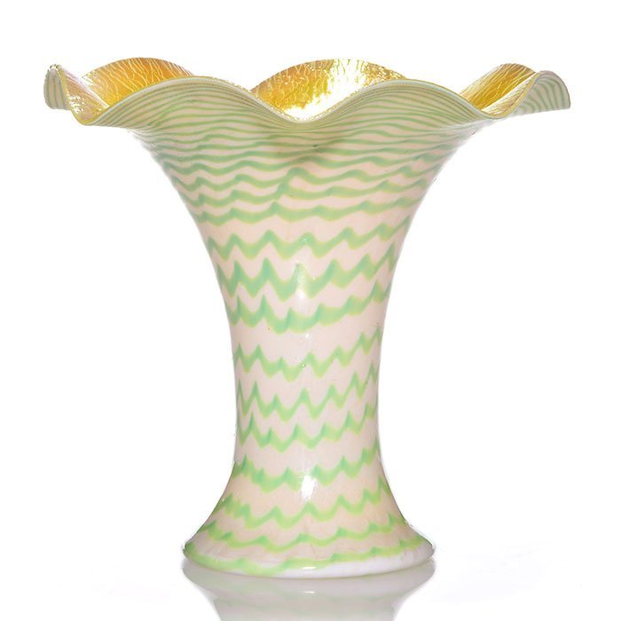 "Kew Blas flower form vase, decorated, 8 3/4"""
