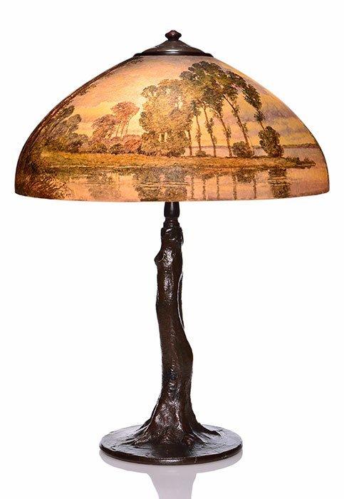 """Handel 18"""" scenic lamp, tree trunk base"""