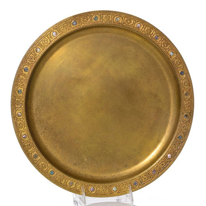 """Tiffany Studios Abalone bronze charger, 14"""", marked"""