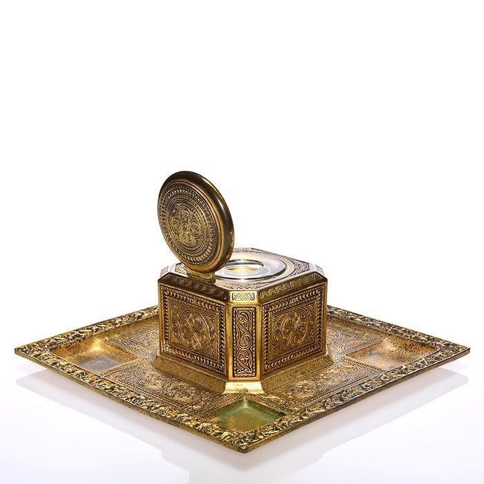 """Large Tiffany Venetian inkwell tray combo,4""""x9 5/8"""""""