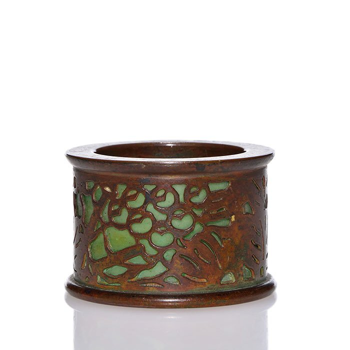Tiffany bronze Grape circular match holder, 1 1/2""