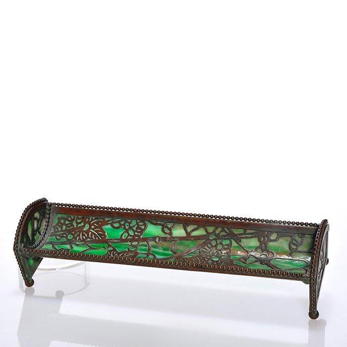 """Revere bronze pen tray,Grape Leaf,green slag,9 1/8"""""""