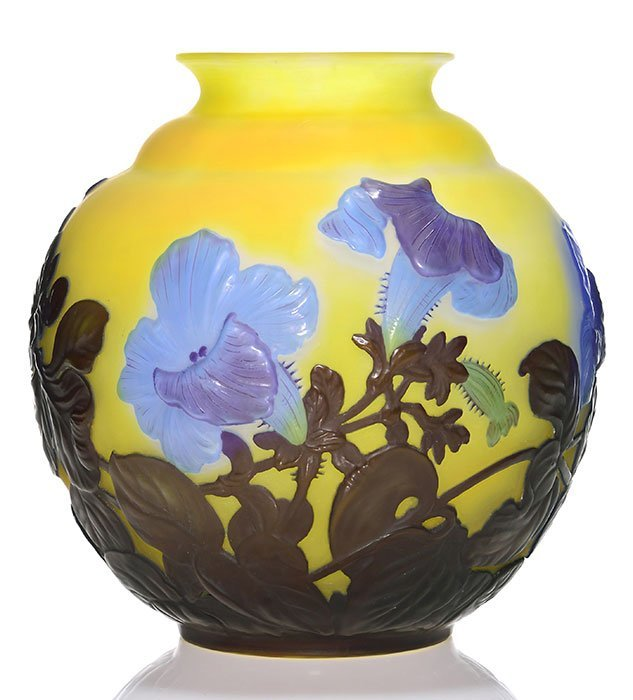 "Galle Blow-Out vase, Morning Glories, 9 5/8"", signed"