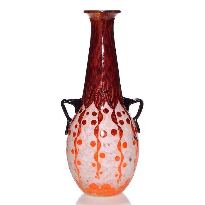 "LeVerre Francais Rubaniers handled vase, 17 1/4"""