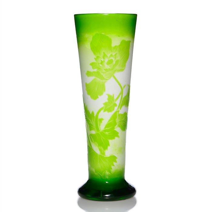 """Muller Depose' Nancy fire polished vase,poppies,14"""""""