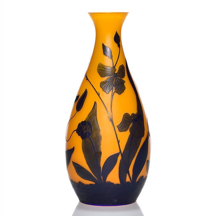 Loetz cameo vase, exotic flowers, orange, 11 5/8""