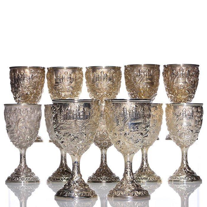 """12 sterling Loring Andrews Castle goblets, 7"""", marks"""
