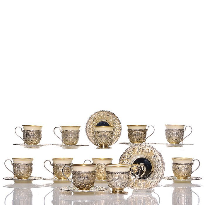 """12 sterling Loring Andrews Castle liquor cups, 2"""""""