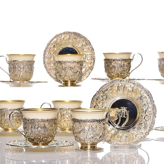 """12 sterling Loring Andrews Castle liquor cups, 2"""" - 2"""