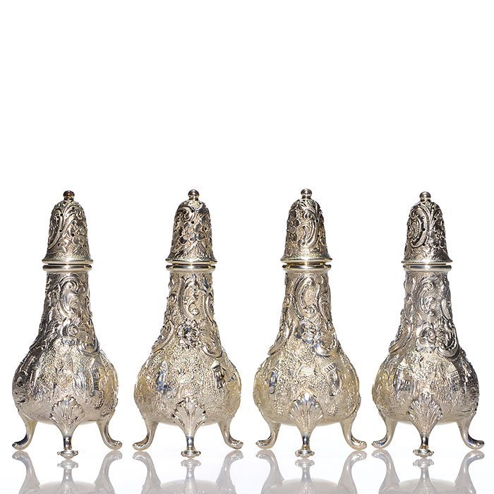 4 Sterling Loring Andrews Castle salt/pepper shakers