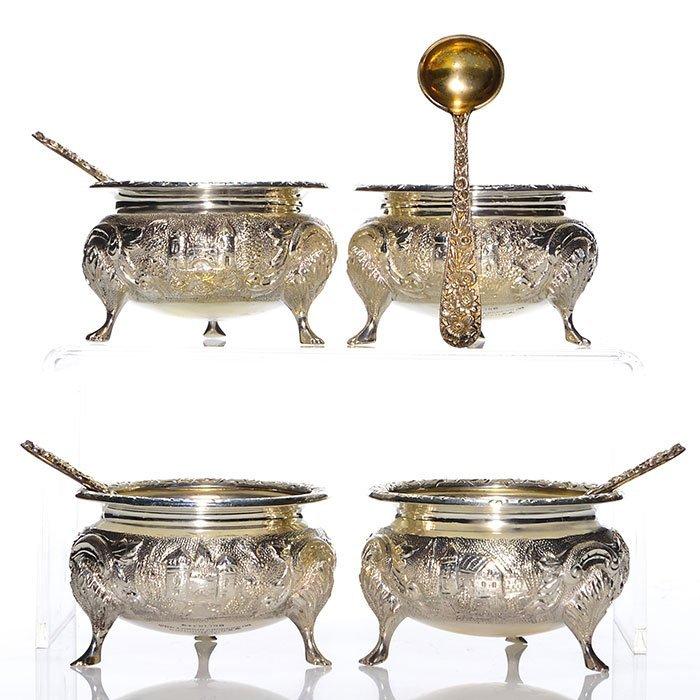 4 Loring Andrews Castle sterling footed salts, spoons