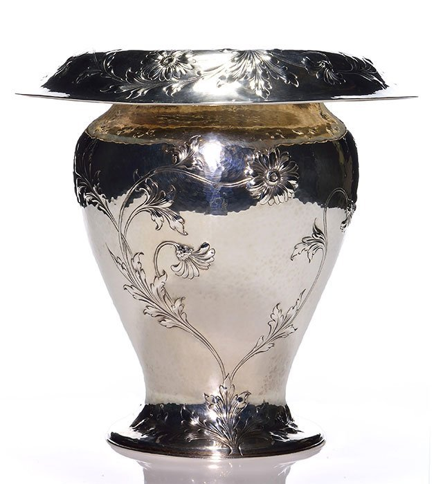 Lebolt(Chicago)hand hammered Sterling Special vase - 2