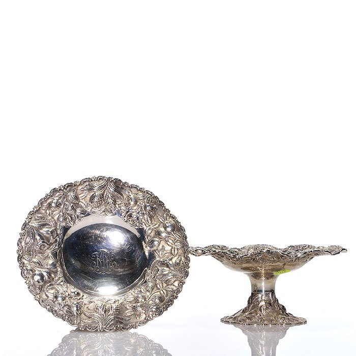 """2 LoringAndrews Repousse sterling compotes,3 1/4"""""""